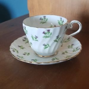 Aynsley Bone China Purple Thistle Teacup & Saucer